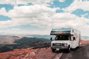 rental RV on the edge of a road in western united states